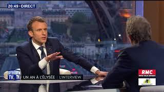 Extraits interview MACRON sur BFMTV sur fond de Tour Eiffel le 15 04 2018