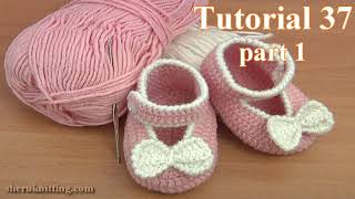 Repeat youtube video Crochet Button Buckle Bow Shoes Tutorial 37 Part 1 of 2 Zapatitos Para Bebe