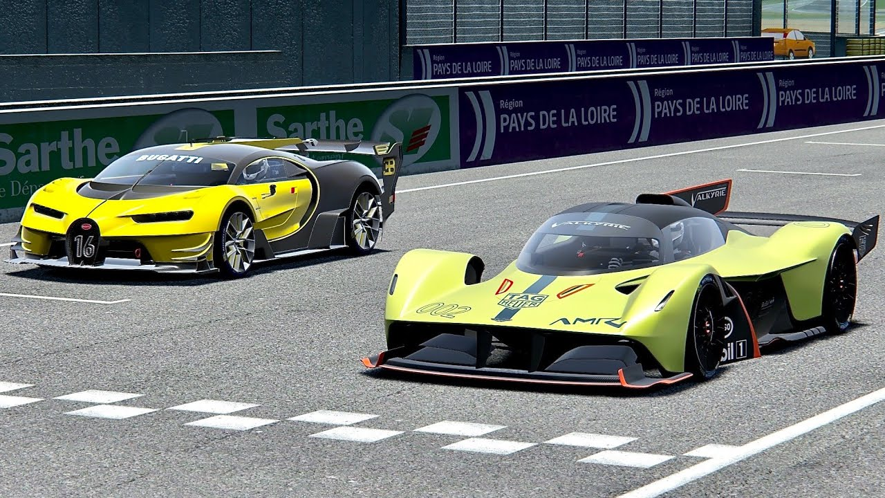 Aston Martin Valkyrie Amr Pro Vs Bugatti Vision Gt With Red Bull X2010 Le Mans Youtube