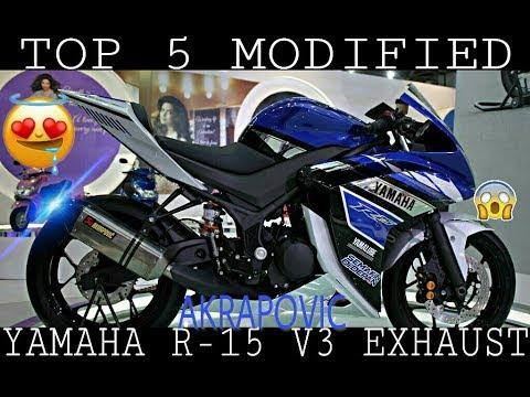 TOP 5 MODIFIED EXHAUST OF YAMAHA R-15 V3 | AKRAPOVIC , SC PROJECT ,  YOSHIMURA | 2018