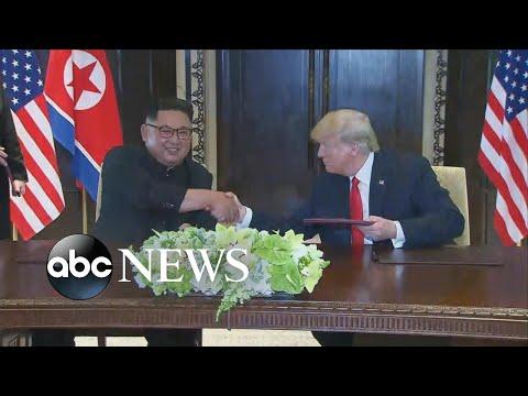 Trump, Kim Jong Un sign unspecified document at historic summit