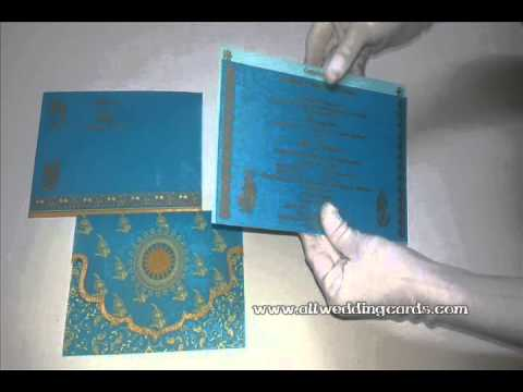 W-4716K Custom , Turquoise Color,  Wooly Paper Designer Wedding Cards