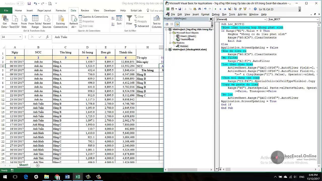 Lập Báo cáo chi tiết tự động trên Excel và VBA