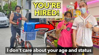 YOU'RE HIRED + Starting BONUS! Giving a Permanent JOB to the VIRAL Bike Rider (Uplifting Story) 🙌🇵🇭