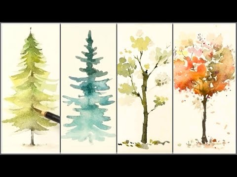 How to Paint 4 Different Trees for Beginners | Easy Watercolor Tutorials