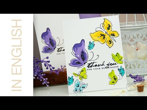 One Layer Painted Butterflies Thank You Cards Pinterest