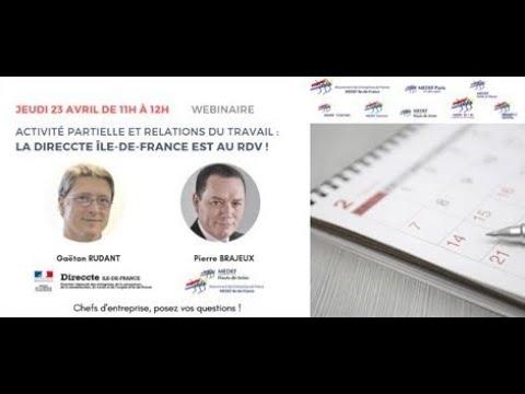 Activité partielle et relations du travail : La DIRECCTE Île de France est au RDV !