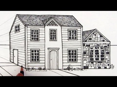 Perspective Drawings Of Buildings how to draw a house in one-point perspective - youtube