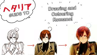 【ヘタリア How?】Drawing and Colouring Romano!