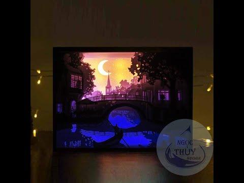 Papercut Lightbox NNT: Chèo thuyền đêm trăng