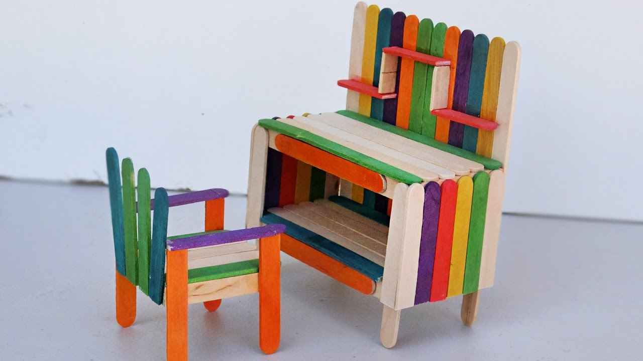 Popsicle Stick Crafts - How to make Table and Chair | Miniature Furniture