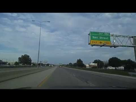 Driving on I-74 by Champaign,Illinois