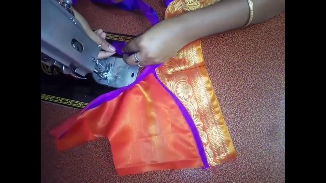 809591e149dc4 Paithani Blouse back neck Design cutting   stitching easy patchwork  paithani Blouse Design