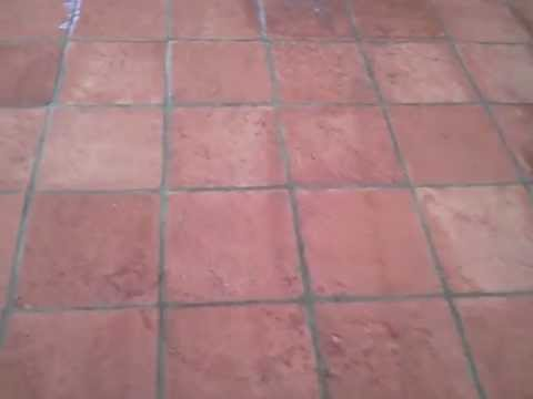After Cleaning And Sealing This Exterior Saltillo Tile Flooring In