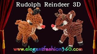 Rainbow Loom Reindeer/rudolph 3d Charm/ Christmas/holiday - How To Loom Bands