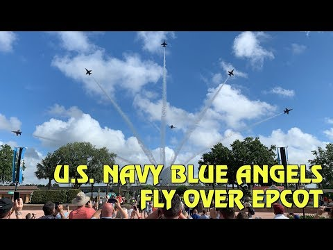 U.S. Navy Blue Angels soar above Spaceship Earth and Epcot at Walt Disney World