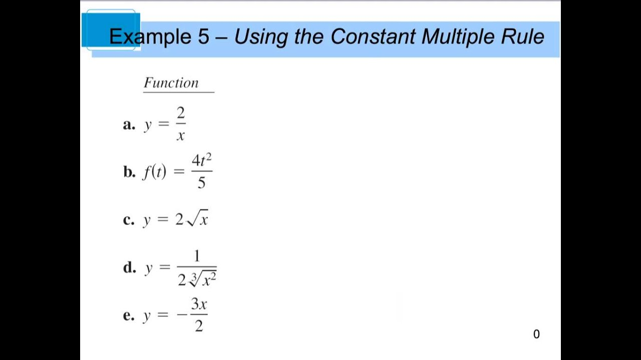 Calculus 2 2 Basic Differentiation Rules - Part 1