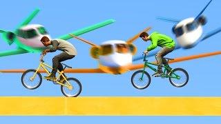 САМОЛЁТЫ СУИЦИДЫ vs.  БЕГУНЫ НА BMX! (GTA 5 Смешные Моменты)