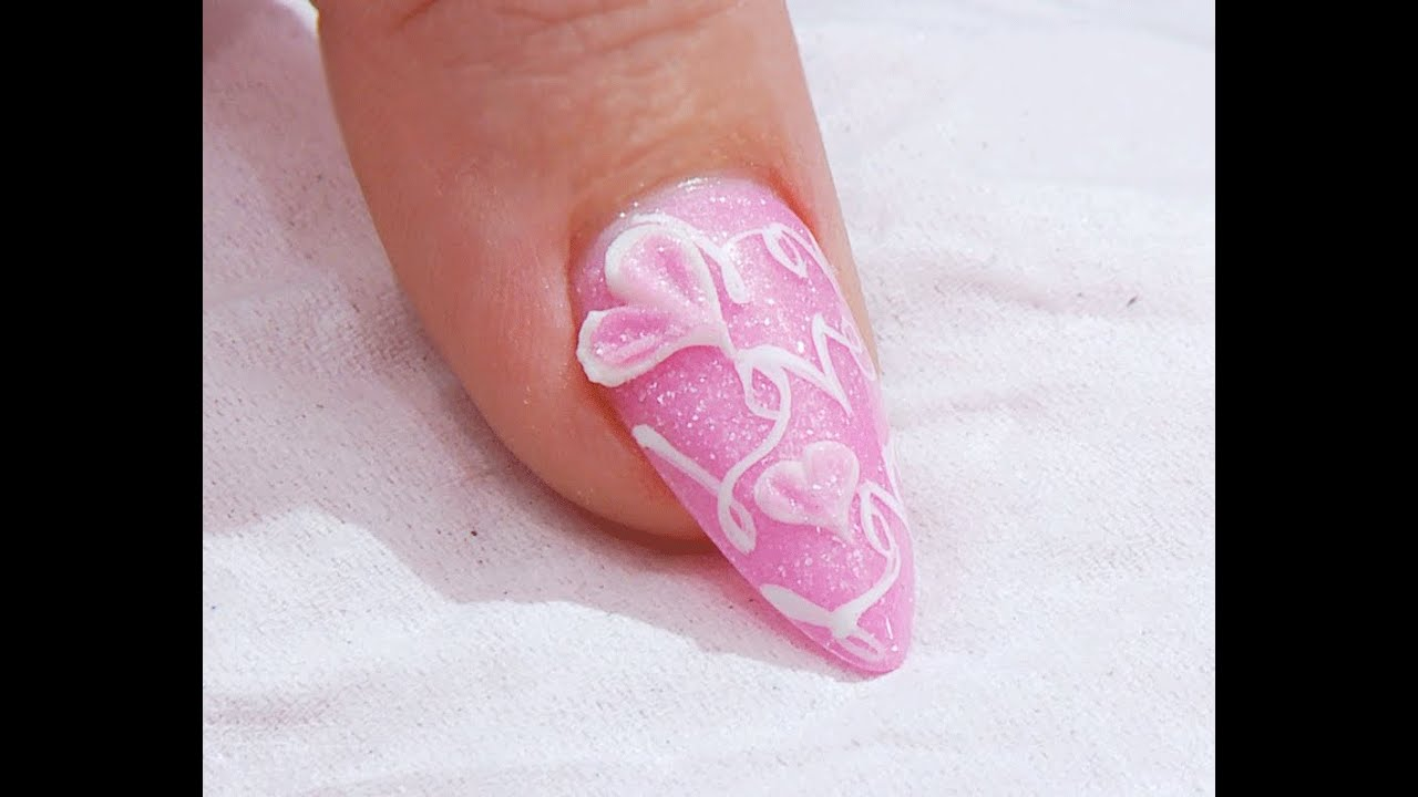 Sweet Baby Pink 3d Love Heart Acrylic Nail Design Kirsty Meakin