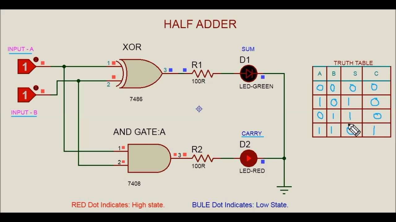 half adder circuit youtube rh youtube com logic diagram of full adder using two half adders logic diagram of full adder using 2 half adder