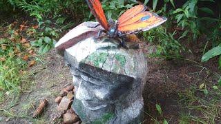 Камень - оберег из Цемента своими руками .Декоративный камень и бабочка из цемента.