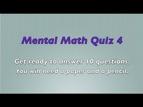 Mental Math Quiz 4 - Grades 2 and 3 Math - Numeracy Skills ...