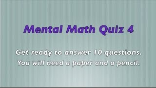 Mental Math Quiz 4 - Grades 2 and 3 Math - Numeracy Skills - Sparkles Online School