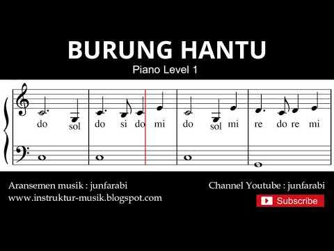 Not Balok Burung Hantu - Tutorial Piano Grade 1 - Notasi Lagu Anak - Doremi Solmisasi