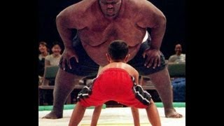 Hilarious 700 lb Sumo Wrestler vs little MMA fighter.