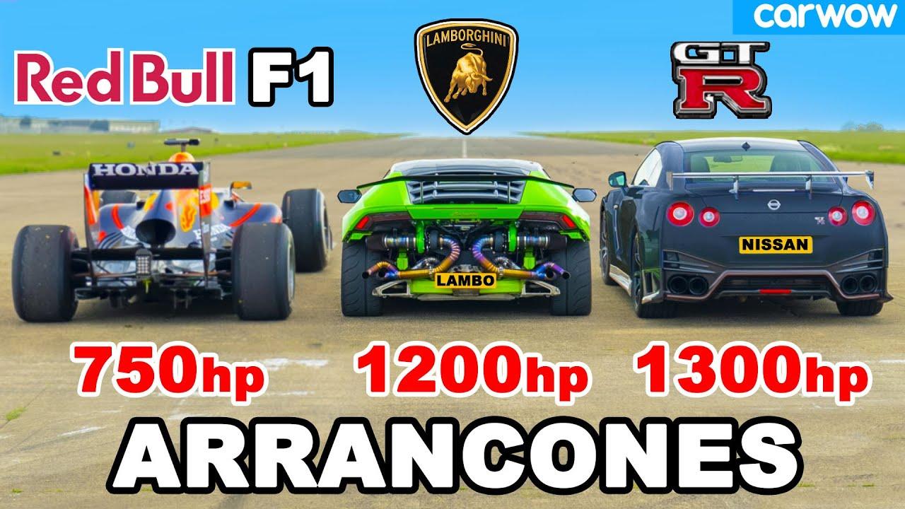 Auto F1 vs 1200hp Lamborghini vs 1300hp GT-R NISMO: ARRANCONES