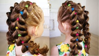 Bright braids! Hairstyle for girl. Pull Through Braid Tutorial!