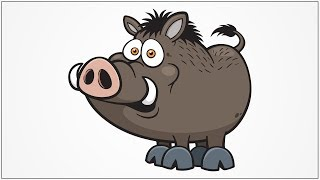 how to draw wild pig step by step for kids