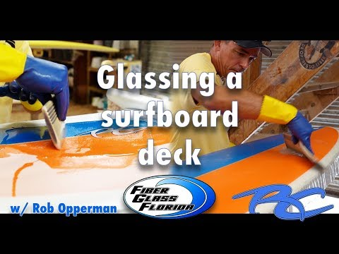 Glassing A Surfboard Deck : Sanding The Cut Laps And Laminating The Top Of A Surfboard
