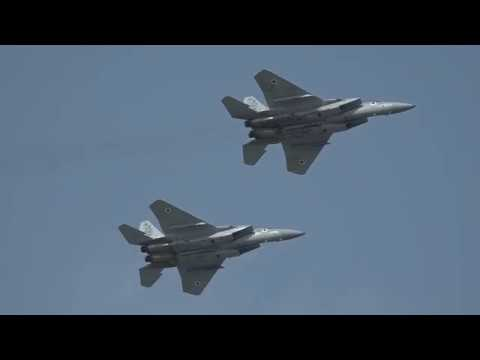 Two Israeli Air Force F-15 ''Baz'' dogfighting over Tel Aviv, April 12, 2018