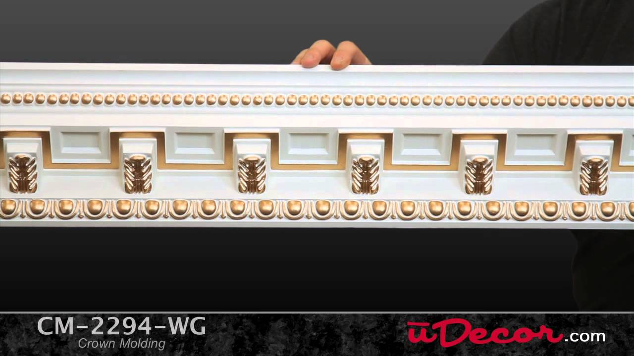 CM-2294 Gold Highlights Polyurethane Crown Molding by uDecor - YouTube