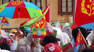 Eritreans welcome Dr. Abiy Ahmed in Asmara, Eritrea