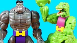 Marvel Shape Shifters Battle ! Hulk Dino Beast + Spider-man ! Superhero Toys