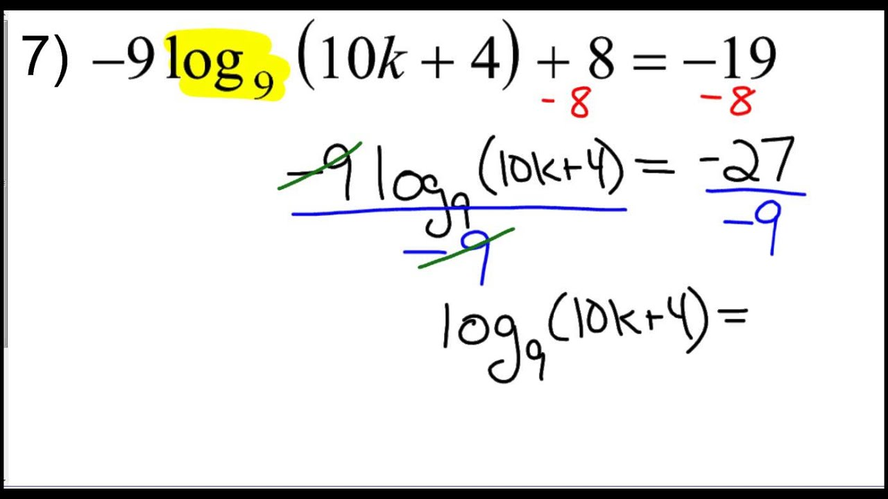 Logarithmic Equations Example 2 YouTube – Logarithmic Equations Worksheet