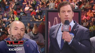 Drew Gulak breaks out his megaphone and crashes the Kickoff panel: WWE TLC Kickoff 2017