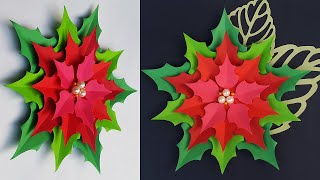 Paper Flowers Poinsettia | Christmas Decoration Ideas | Christmas Backdrop | Christmas Crafts