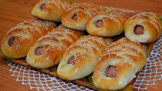 Сосиски с картошкой в тесте. Sausages with potatoes in the dough.