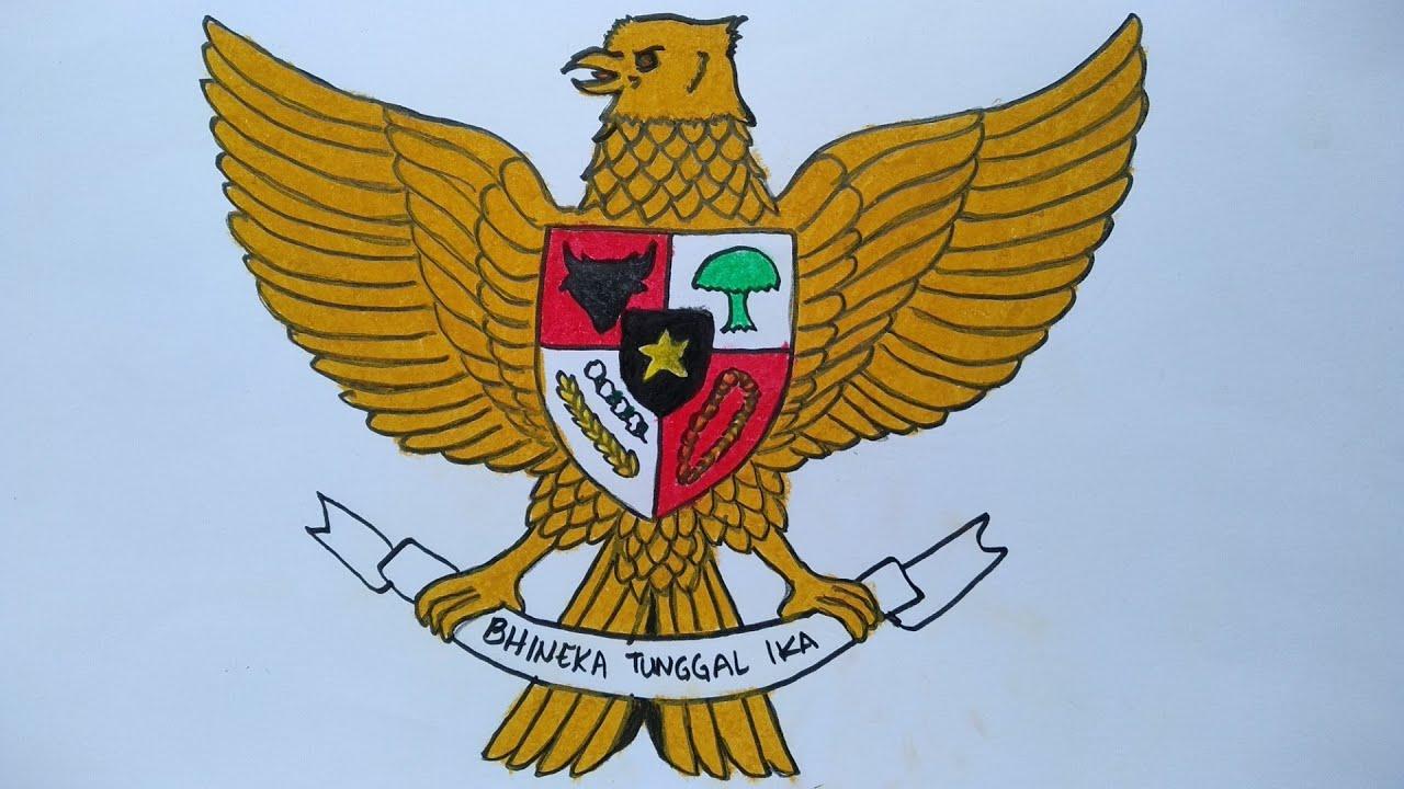 Menggambar Garuda Pancasila Cara Menggambar Burung Garuda Belajar Menggambar Dan Mewarnai