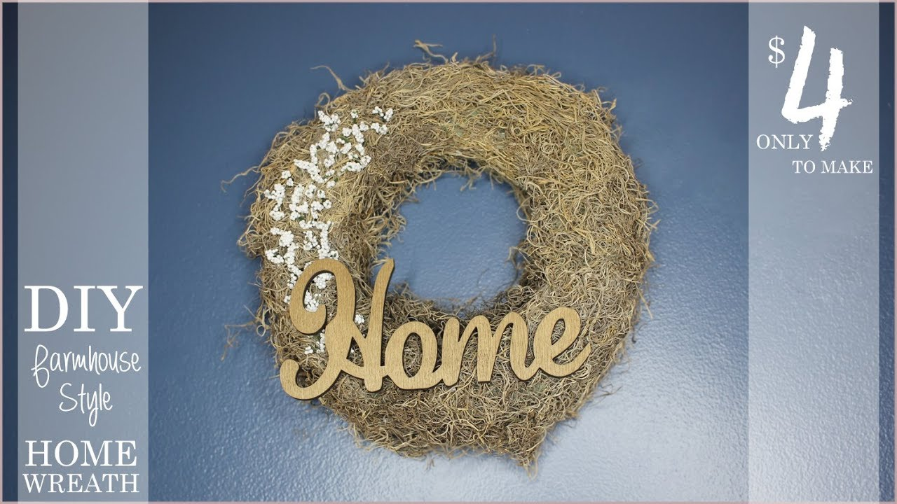 DIY HOME Wreath - Only $4 ! - Farmhouse Style from Dollar Tree ...