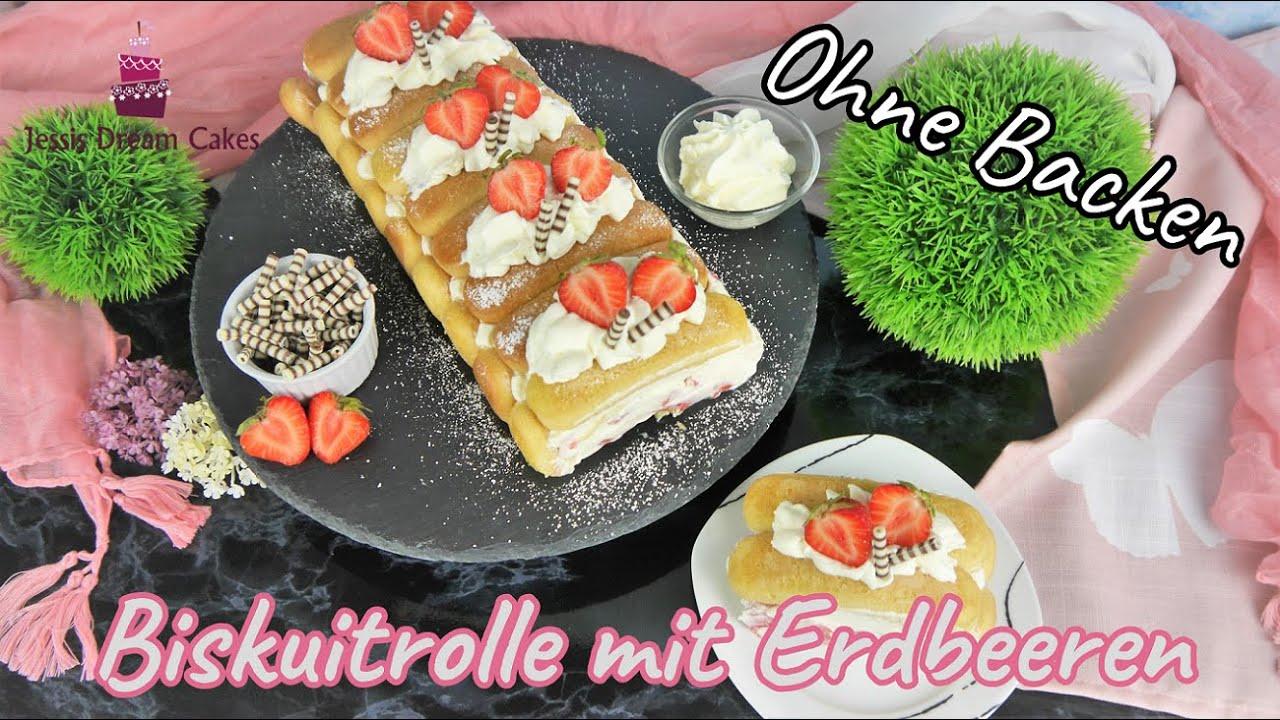 Erfrischende Erdbeer-Biskuitrolle ohne Backen 🍓/ Perfekt für warme Sommertage! - Blitzrezept!