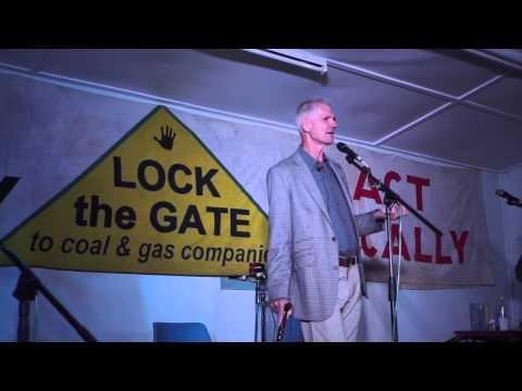 Lock the Gate President Drew Hutton speaks at Bentley