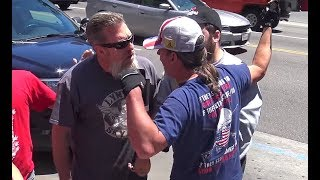 Anti-Trump Protesters VS Trump Supporters on Hollywood Blvd | FLECCAS TALKS