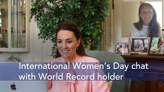 The Duchess of Cambridge speaks to Jasmine Harrison on World Record for International Women's Day