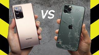 Galaxy Note 20 Ultra vs. iPhone 11 Pro Max Drop Test