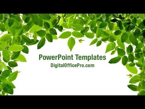 Green Leaves Border Powerpoint Template Backgrounds