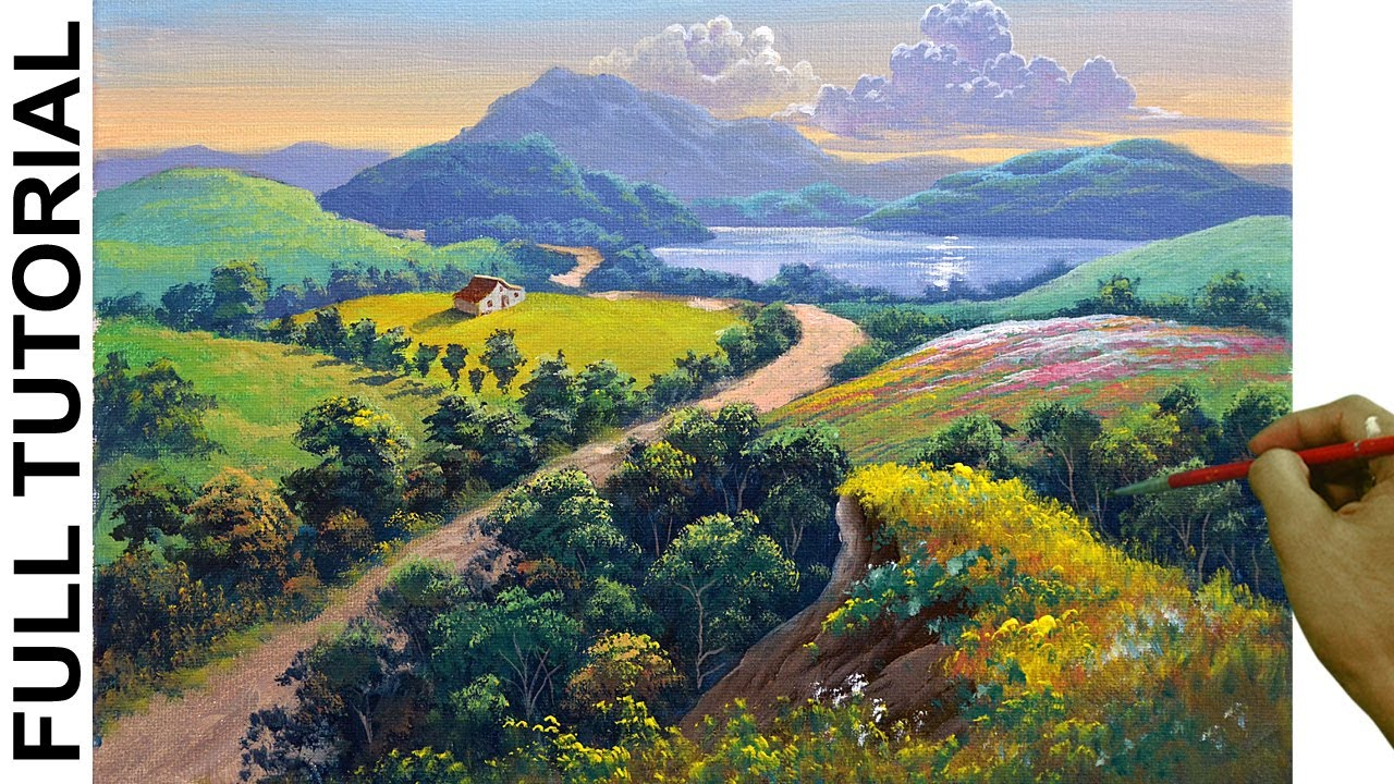 Acrylic Landscape Painting Tutorial / Overlooking Dirt Road to Lake / JMLisondra